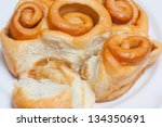 closeup of sweet bread bun... | Shutterstock . vector #134350691