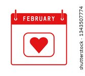 february 14. calendar flat icon ... | Shutterstock .eps vector #1343507774
