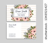floral style business card... | Shutterstock .eps vector #1343521427