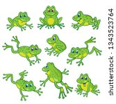 Set Of Nine Funny Frogs In...