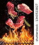 tasty beef steaks flying above... | Shutterstock . vector #1343523827