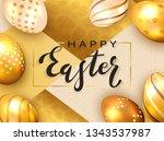 black lettering happy easter... | Shutterstock .eps vector #1343537987