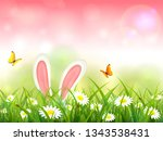 easter theme with bunny ears.... | Shutterstock . vector #1343538431