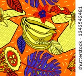 tropical flowers and fruits.... | Shutterstock .eps vector #1343542481