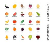 vegan silhouettes color icons... | Shutterstock .eps vector #1343543174