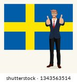 happy man shows gesture cool on ... | Shutterstock .eps vector #1343563514