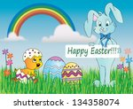 easter card in nature with...   Shutterstock . vector #134358074