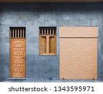 modern door  window and roller... | Shutterstock . vector #1343595971