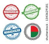 stamp made in madagascar label... | Shutterstock .eps vector #1343629181