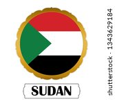 flag of sudan with name icon ... | Shutterstock .eps vector #1343629184