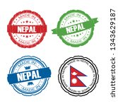 stamp made in nepal label set... | Shutterstock .eps vector #1343629187