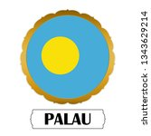 flag of palau with name icon ... | Shutterstock .eps vector #1343629214