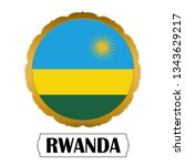 flag of rwanda with name icon ... | Shutterstock .eps vector #1343629217
