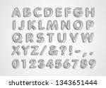 metallic silver abc balloons ... | Shutterstock .eps vector #1343651444