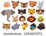 set of wild animal head... | Shutterstock .eps vector #1343691971