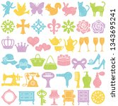 set of girly icons. stamp set. | Shutterstock .eps vector #1343695241