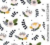 vector floral seamless pattern... | Shutterstock .eps vector #1343722484