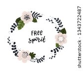 vector card with floral wreath... | Shutterstock .eps vector #1343722487