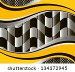 vector checkered racing flag... | Shutterstock .eps vector #134372945