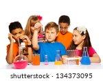 team of five kids experimenting ... | Shutterstock . vector #134373095