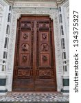 The Carved Wooden Door Of The...