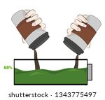 coffee charges the battery.... | Shutterstock .eps vector #1343775497