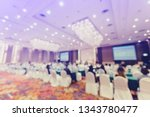 Small photo of Blurry of auditorium for shareholders' meeting or seminar event with projector, Annual shareholder meeting