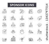 sponsor line icons for web and... | Shutterstock .eps vector #1343797514