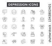 depression line icons for web... | Shutterstock .eps vector #1343802401