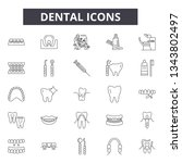 dental line icons for web and... | Shutterstock .eps vector #1343802497