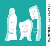 unhealthy vs healthy teeth...   Shutterstock .eps vector #1343819594