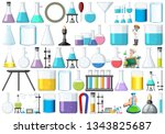 set of lab equipment... | Shutterstock .eps vector #1343825687