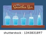 blue fresh fruit smoothies set. ... | Shutterstock . vector #1343831897