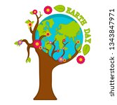 planet earth on a tree. earth... | Shutterstock .eps vector #1343847971