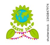 planet earth with leaves. earth ... | Shutterstock .eps vector #1343847974