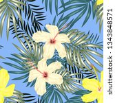 tropical hibiscus flowers and... | Shutterstock .eps vector #1343848571