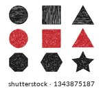 hand drawn textured shape set | Shutterstock .eps vector #1343875187