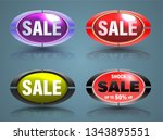 sale banners set oval 3d style... | Shutterstock .eps vector #1343895551