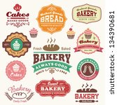 Stock vector collection of vintage retro bakery logo badges and labels 134390681
