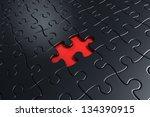 3d Rendering Of Black Puzzle...