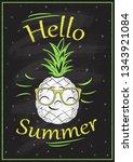 hello summer chalkboard design  ...   Shutterstock . vector #1343921084