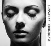 Beautiful woman face. Perfect makeup. Beauty fashion - stock photo