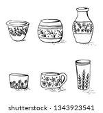 set of flowers vases in doodle... | Shutterstock .eps vector #1343923541