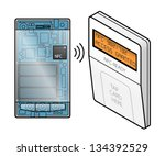 a transparent smartphone with... | Shutterstock .eps vector #134392529