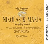 wedding card with yellow floral ... | Shutterstock .eps vector #1343925824
