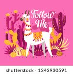 illustration with llama and... | Shutterstock .eps vector #1343930591