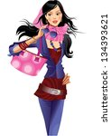 fashion girl  with pink bag   Shutterstock .eps vector #134393621