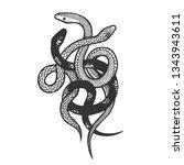 binded snakes sketch engraving...   Shutterstock .eps vector #1343943611