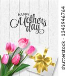 pink tulips and gift box on a... | Shutterstock .eps vector #1343946764