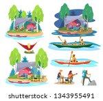 summer camping scenes in flat... | Shutterstock .eps vector #1343955491